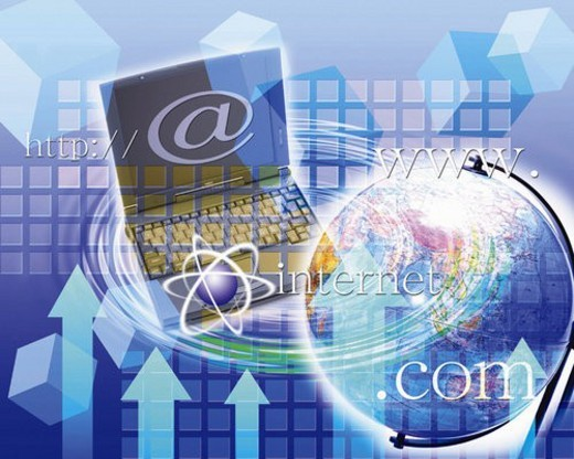 Stock Photo: 4029R-359285 Globe and laptop with image of web address, Computer Graphics, composition