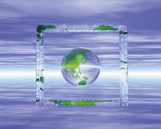 Globe in crystal frame, front view, Computer Graphics, composition : Stock Photo