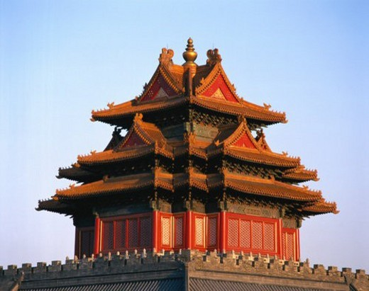 View of turret in Forbidden City, Beijing : Stock Photo