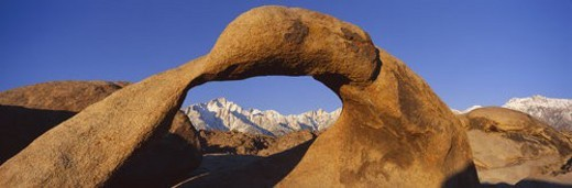 Stock Photo: 4029R-362633 Panoramic view of Mount Whitney framed through Alabama Hills Arch in Alabama Hills