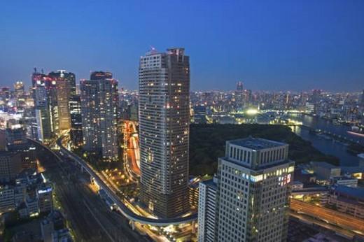 Stock Photo: 4029R-363393 Nighttime cityscape, Minato Ward, Tokyo, Japan