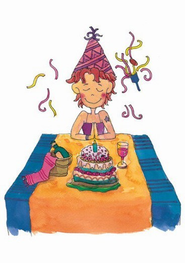 Stock Photo: 4029R-363457 painting, watercolor, birthday, child, wish, thinking
