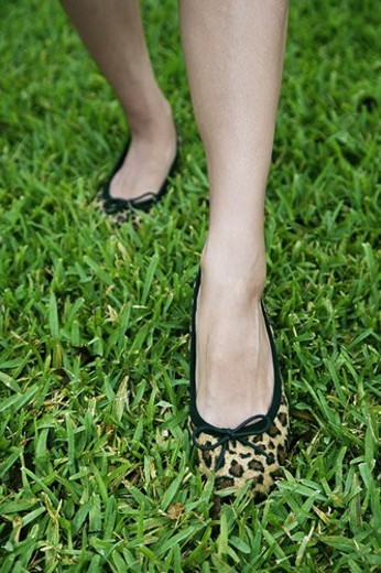 cropped image woman s feet walking on grass : Stock Photo