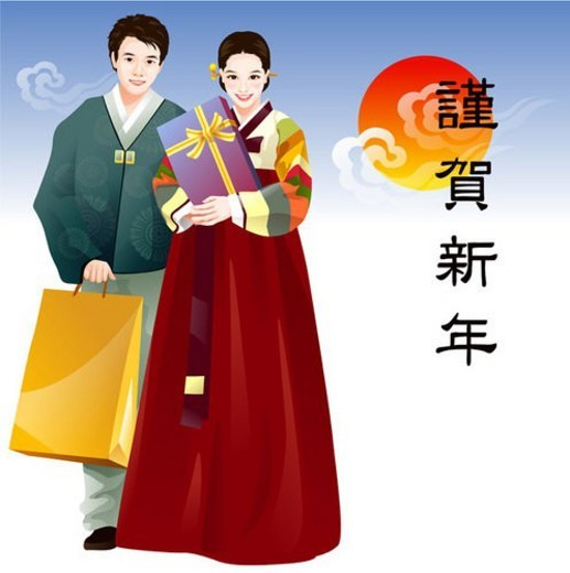 Stock Photo: 4029R-363601 ethnic dress, winter, cultural dress, celebration, new year, seasons