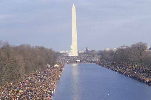 Crowd at President Clinton s Inauguration, The Washington National Monument, Washington, D.C. : Stock Photo