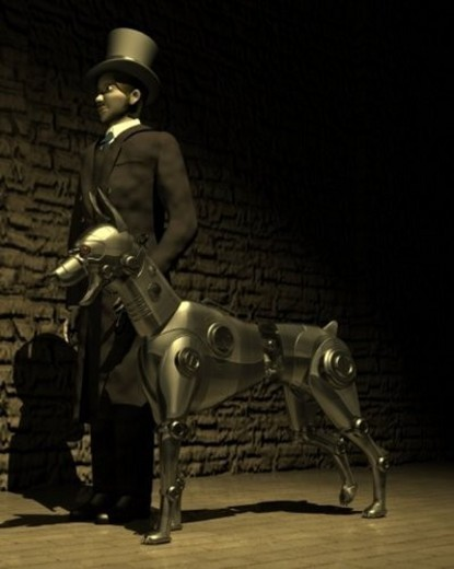 Stock Photo: 4029R-366457 Man and Robot Dog, Illustration, CG, 3D, Sepia, Low Angle View