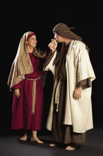 Stock Photo: 4029R-367349 people depicting mary and joseph