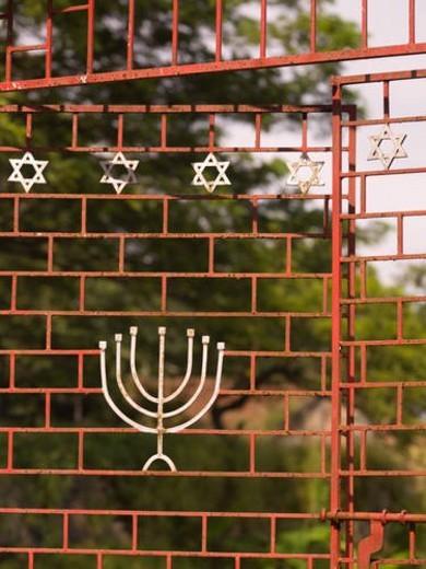 Synagogue gates in Jewtown, Cochin, India : Stock Photo