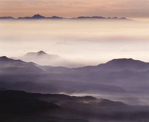 Stock Photo: 4029R-368883 Fog shrouded mountain range,  Kusatsu Shirone,  Gumma Prefecture,  Japan
