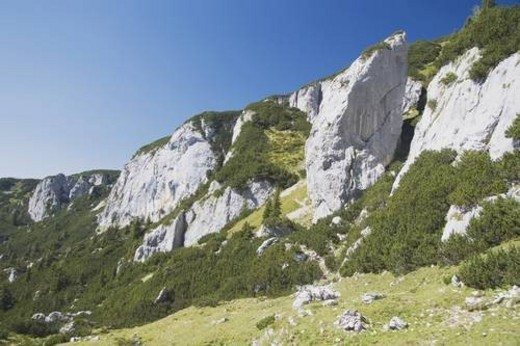 maurach, austria; mountain cliffs in the austrian alps : Stock Photo