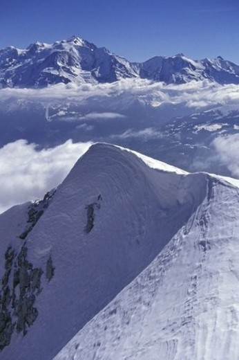 Landscape, mountain, mountainside, Snow, Blue, sky, Mountain : Stock Photo