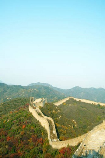 High angle view of a historic wall, Great Wall Of China, China : Stock Photo