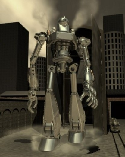 Robot, Illustration, CG, 3D, Sepia, Low Angle View : Stock Photo