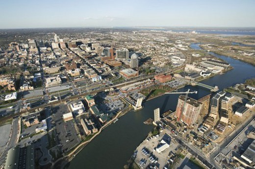 Aerial view of Baltimore, Maryland with river and drawbridges. : Stock Photo