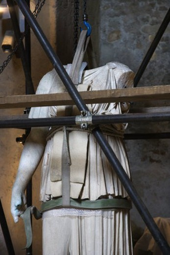 Stock Photo: 4029R-375204 Statue under restoration in Capitolini Museum, Rome, Italy.