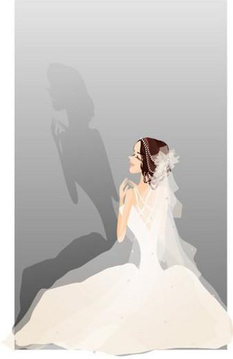 Stock Photo: 4029R-377763 festivities, smile, festive, wedding ceremony, wedding dress, happiness