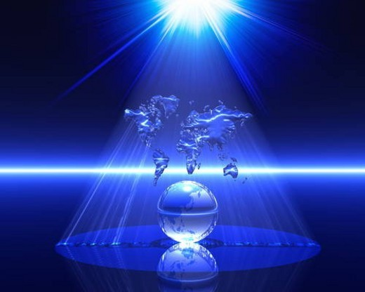 Light shining on a globe and map : Stock Photo