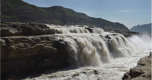 Stock Photo: 4029R-378294 Overlook of Hukou Waterfalls, Shanxi