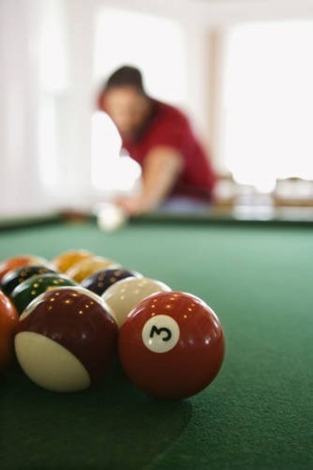 Man Shooting Pool : Stock Photo