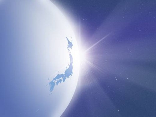 Sunlight behind the earth, map of Japan, computer graphic : Stock Photo