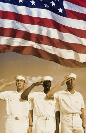 Stock Photo: 4029R-379260 Digital composite: Ethnically diverse American sailors and American flag
