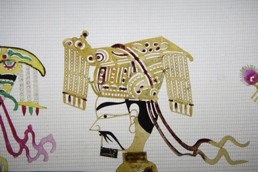 Stock Photo: 4029R-379556 Close up of emperor in Chinese shadow play