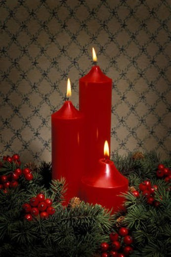 Candles and berries : Stock Photo