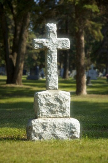 Stock Photo: 4029R-380017 Headstone in graveyard
