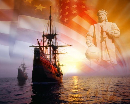 Photo montage: Christopher Columbus, American flag, sailing ships : Stock Photo
