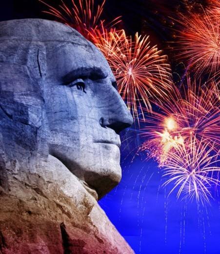 George Washington at Mt. Rushmore, South Dakota with fireworks : Stock Photo