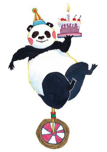 Stock Photo: 4029R-38054 painting, watercolor, birthday, panda, cake