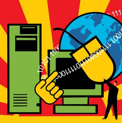 Computer with C.P.U. mouse and globe : Stock Photo