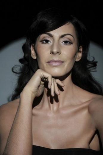 Stock Photo: 4029R-382384 checkers, to monitor, Vogue, woman, Beauty, studio, beauty