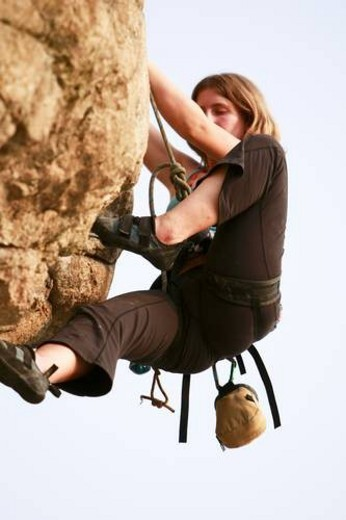 Stock Photo: 4029R-384421 Rock Climbing at Light House Park in Vancouver, British Columbia.