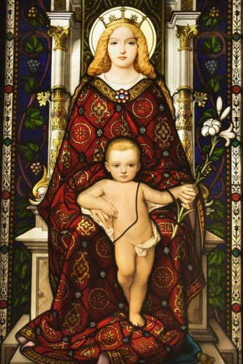 Stained Glass Window of Madonna and Child : Stock Photo