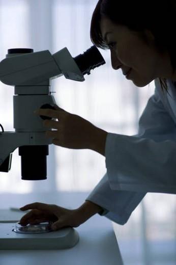 Stock Photo: 4029R-386113 Woman looking through microscope