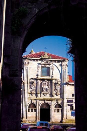 Stock Photo: 4029R-387817 Spain, Galicia, Santiago, Compostela, Santiago compostela, Building, Facade