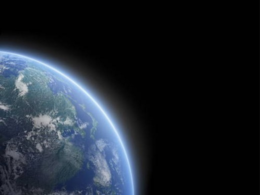 The earth, computer graphic, black background, copy space : Stock Photo