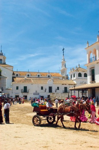 Spain, Andalucia, Andalusia, Huelva, Aldea del rocio, El rocio, Rocio : Stock Photo