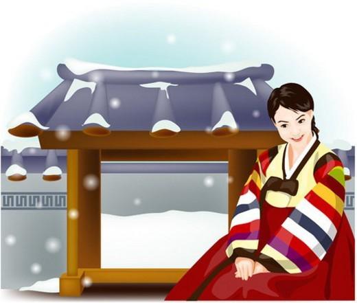 Stock Photo: 4029R-38809 korean dress, snow, snowy, culture, costume