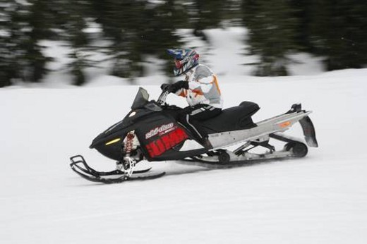 Stock Photo: 4029R-3893 snowmobile adventure tour in Whistler British Columbia