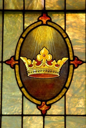 Stained glass window of crown Holy Communion Lutheran Church : Stock Photo