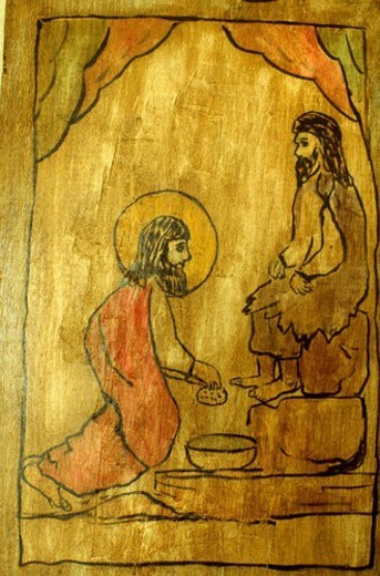 Wood bas-relief of Jesus washing feet : Stock Photo