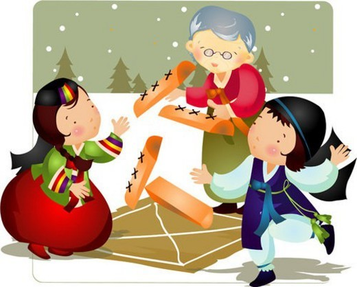 snowfield, grandson, outdoors, korean dress, granddaughter, grandmother : Stock Photo