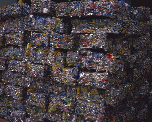 Stock Photo: 4029R-394233 Close up of crushed aluminum cans for recycling, high angle view, Full Frame