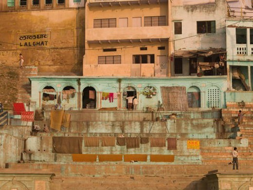 Stock Photo: 4029R-394612 Varanasi, India - Life on the Ganges
