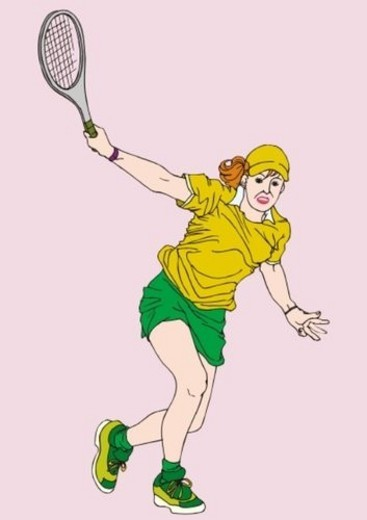 Painting of a young adult woman playing tennis, Illustration : Stock Photo