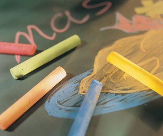 pen, stationary, chalk, blackboard : Stock Photo