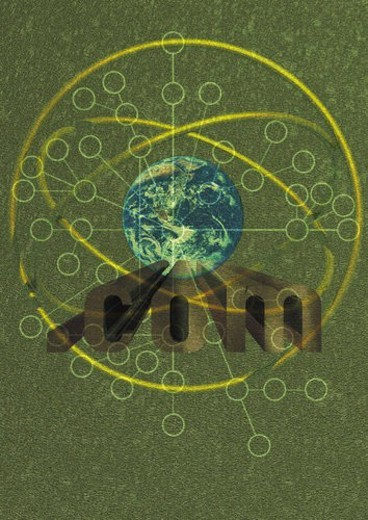 The Earth and loops with Image of  .com , CG, composition : Stock Photo