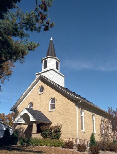 Exterior of church against blue sky : Stock Photo